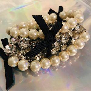 Betsey Johnson pearl crystal rhinestone bracelet